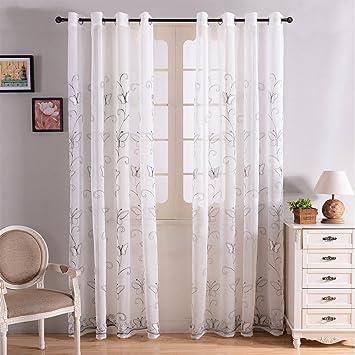 Top Finel bordado mariposa gasa cortina de ventana sheer paneles de cortina para salón, arandelas, solo panel, poliéster, mariposa blanca, ...