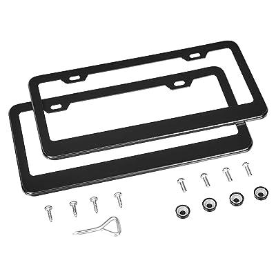 Basics Matte Aluminum License Plate Frame Pair with Screw Caps - 2-Hole, 12.3 x 6.3'', Black: Automotive