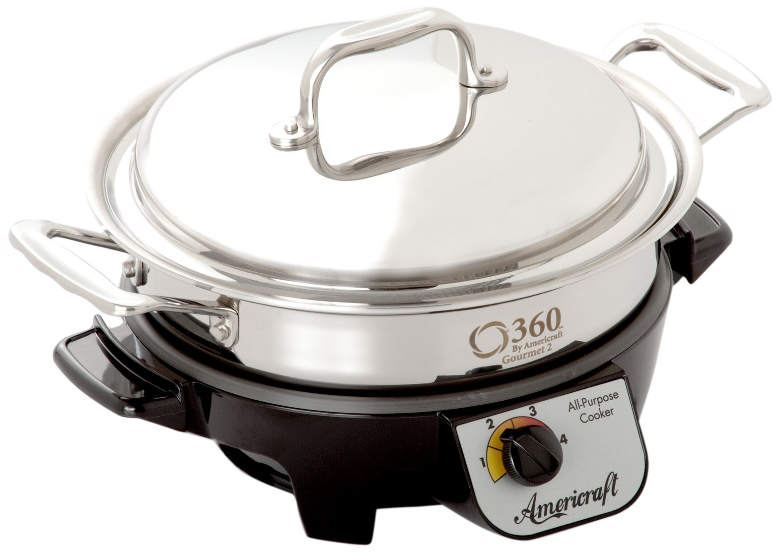 360 Cookware Gourmet Slow Cooker and Induction Capable Non-Leaching Waterless Stainless Steel Casserole with Cover, 2.3-Quart by 360 Cookware