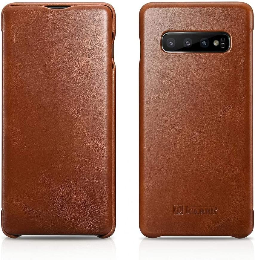 ICARER Galaxy S10 Case, Vintage Series Ultra Slim Genuine Leather Flip Folio Case Side Open Cover Curve Edge Protection for Samsung Galaxy S10 (Brown)