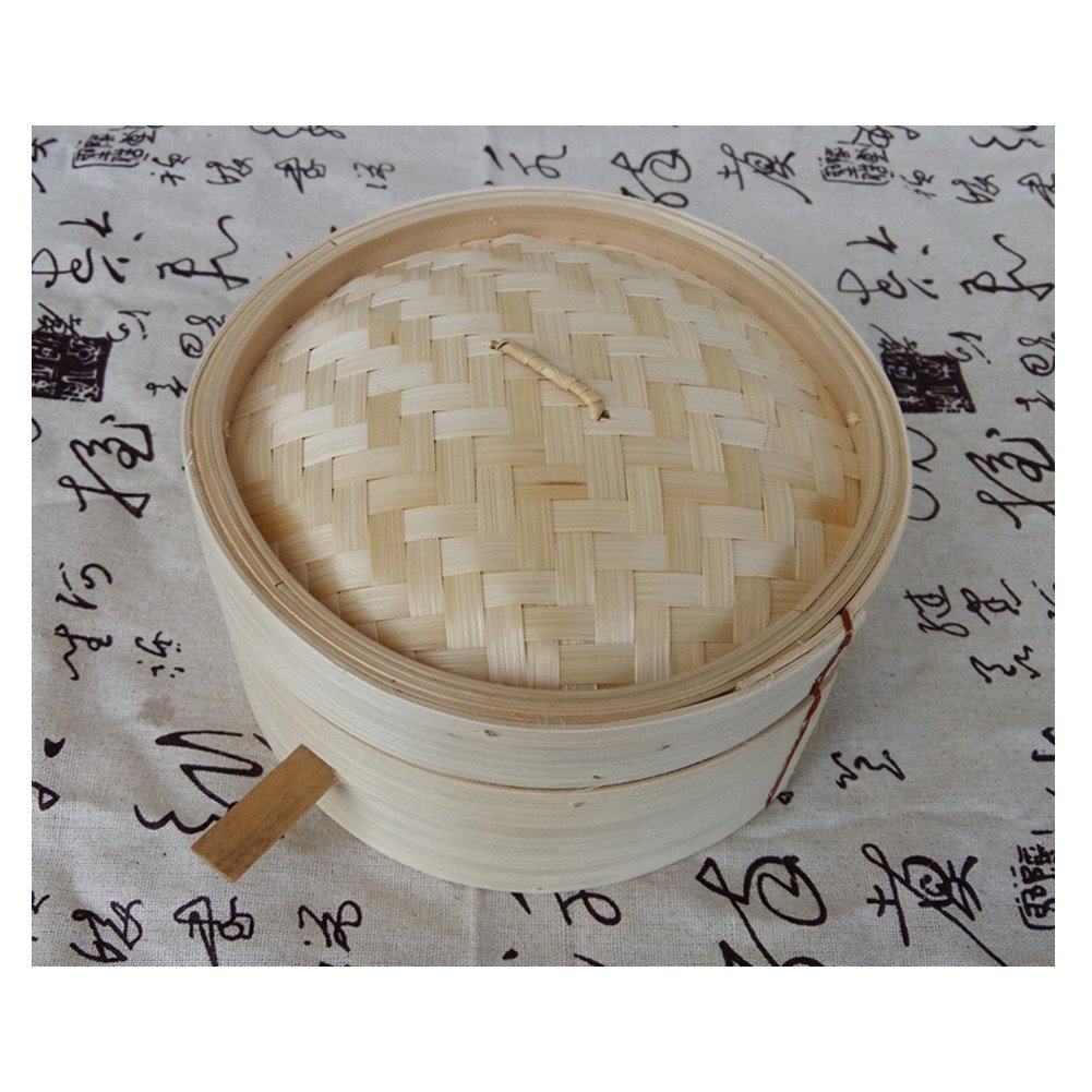 Hong Kong-style bamboo steamer with handrails Hotel restaurant dumplings Snack small steamer Commercial small steamer Two steamers+one lid XICHENGSHIDAI