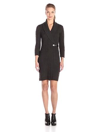 Calvin Klein Women's 3/4 Sleeve Side Buckle Detail Sweater Dress, Charcoal,  X