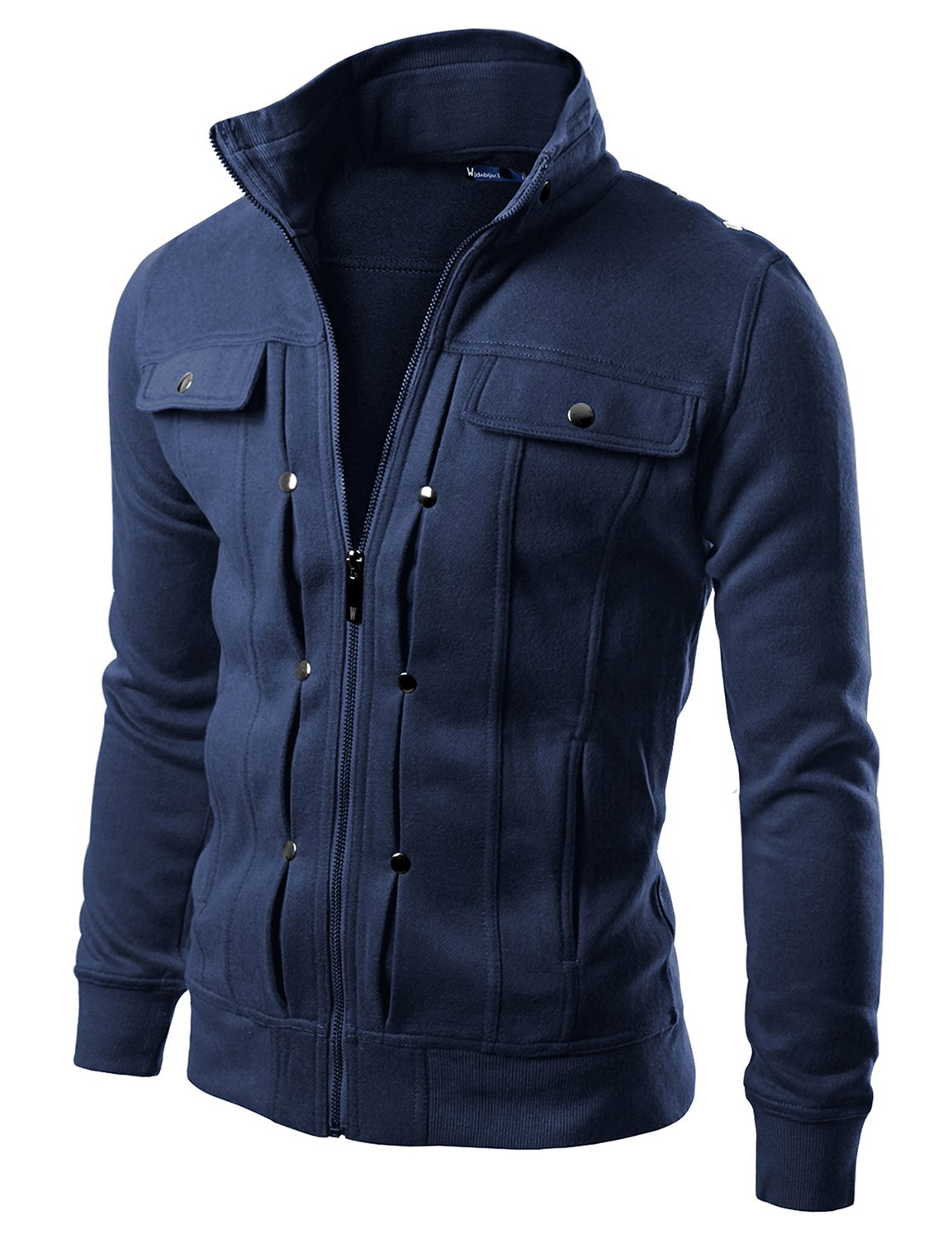 Doublju Men Comfortable Slim Fit Hight Neck Zip Up Jacket Navy M