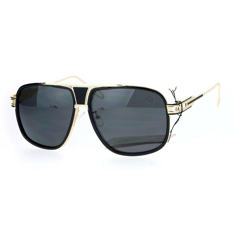 268f445234d Amazon.com  SA106 Luxury Mens Mobster Pilot Racer Designer Fashion  Sunglasses Gold Black  Clothing