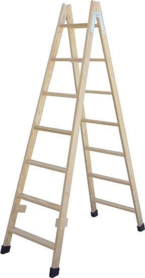 Escalera de tijera de madera con peldaño ancho de 54 mm. Fabricada en pino marítimo sin barnizar. (7 peldaños): Amazon.es: Bricolaje y herramientas