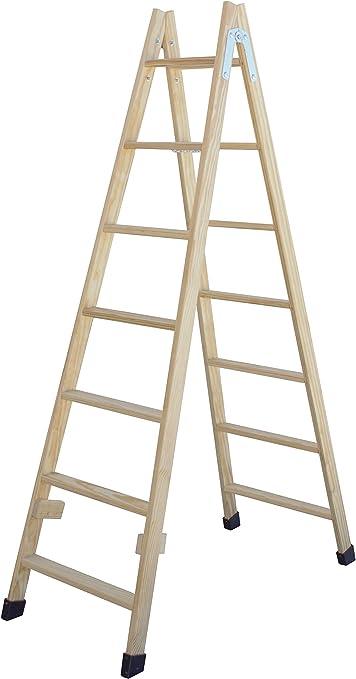 Escalera de tijera de madera con peldaño ancho de 54 mm. Fabricada en pino marítimo sin barnizar. (10 peldaños): Amazon.es: Bricolaje y herramientas