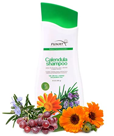 Funat Natural Shampoo for Damaged Hair with Jojoba Oil, Rosemary, Quina, Grape and