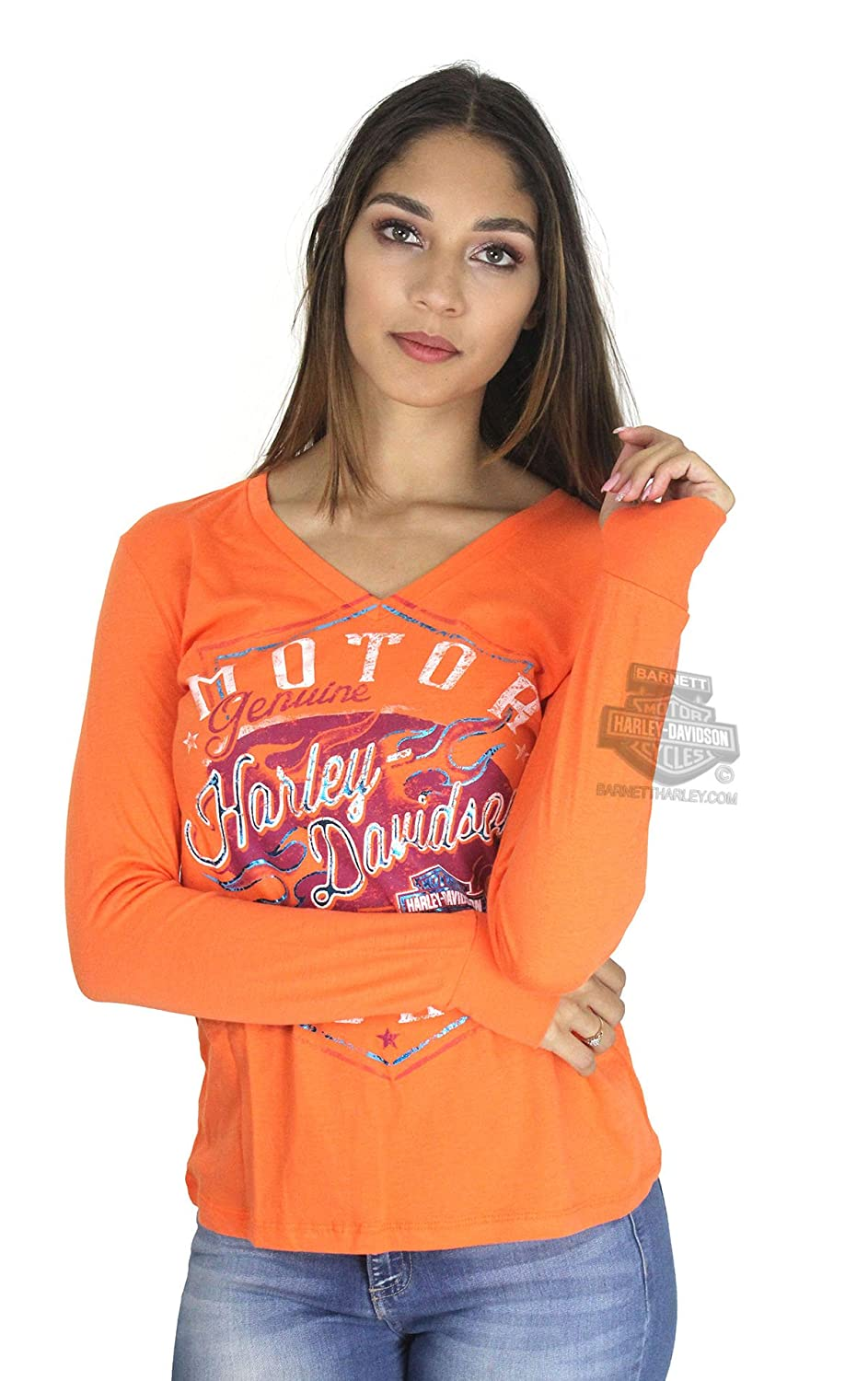 4d7ee70ab846 Amazon.com: Harley-Davidson Womens Braking Properly Flames with B&S Foil  Print Orange Long Sleeve (Small): Clothing