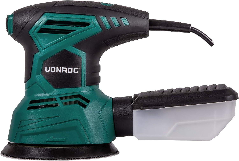 VONROC Ponceuse orbitale 300W Double action mouvements excentriques Bo/îte /à poussi/ère et 12 feuilles abrasives /Ø 125mm