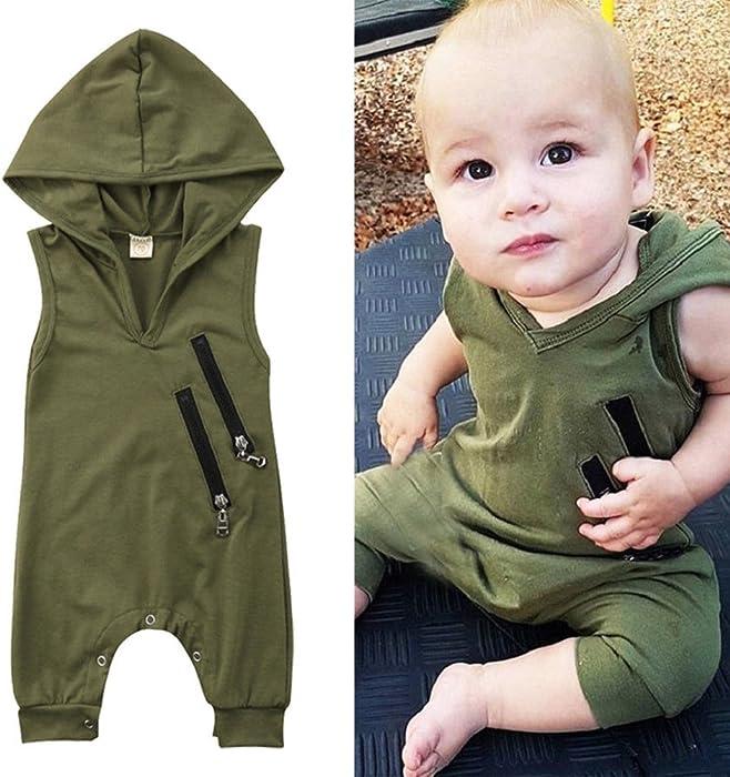 d741646eeff Newborn Baby Sleeveless Hoodies Toddler Boys Girls Zipper Army Green Hooded  Jumpsuit Rompers