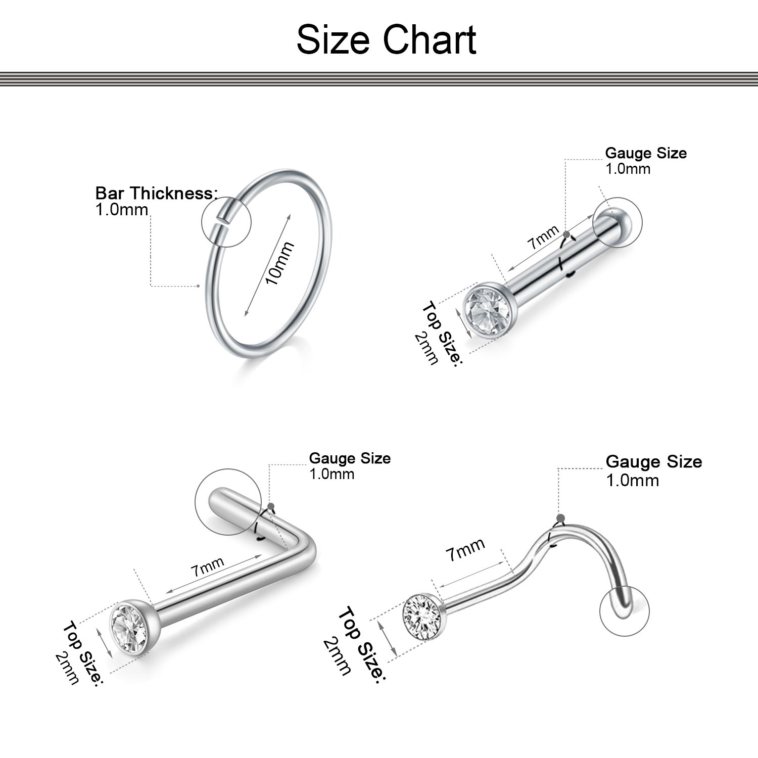 Dbella Nose Rings Hoop 18g 316l Stainless Steel Nose Ring Studs For