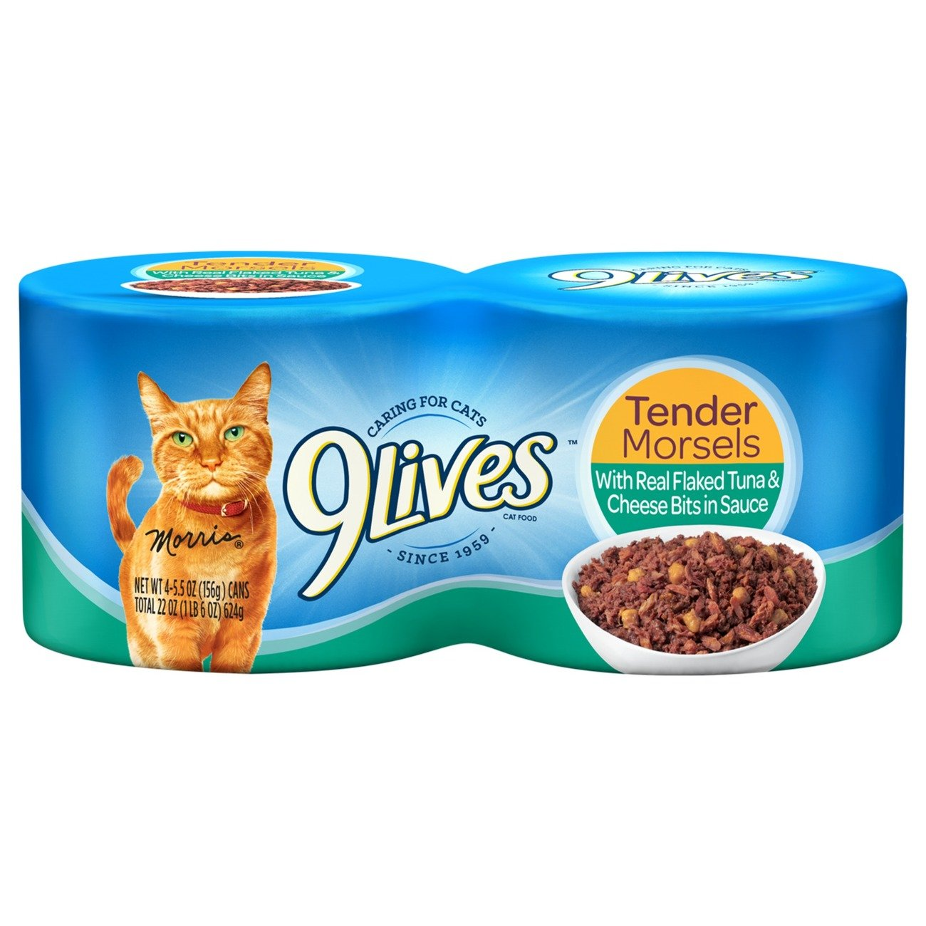 9Lives Tender Morsels With Real Flaked Tuna & Cheese Bits In Sauce Wet Cat Food, 4/5.5-Ounce Cans (Pack of 6)