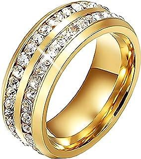Inception Pro Infinite Brllr - Anello Fedina a Fascia Colore Oro con Strass Brillanti - Acciaio - Unisex Uomo Donna - Ragazza Ragazzi - Fidanzamento - Idea Regalo
