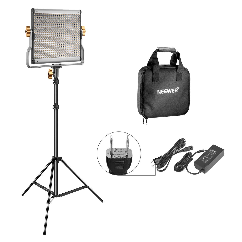 Neewer 調光可能な二色480 LEDビデオライトとライトスタンド照明キット Uブラケット付きの3200K-5600K CRI 96+ LEDパネル 調節可能なライトスタンド YouTubeスタジオ撮影とビデオ撮影用 480ライトキット  B07BXTL7L8