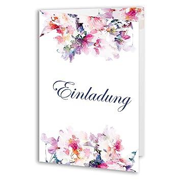 20 X Hochzeitseinladungskarten Blumen Rosen Klappkarte