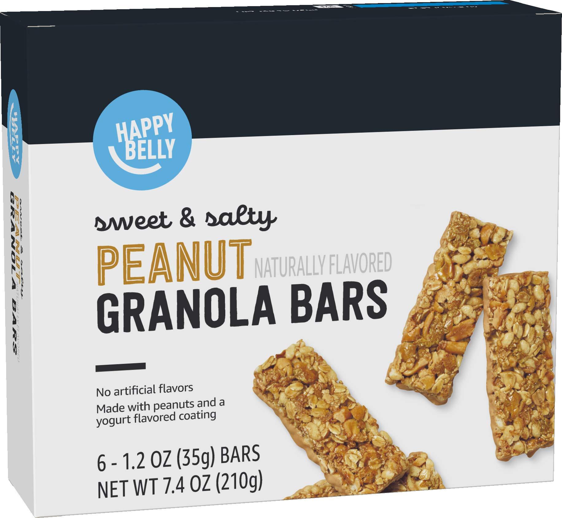Amazon Brand - Happy Belly Sweet & Salty Peanut Granola Bars, 6 Count