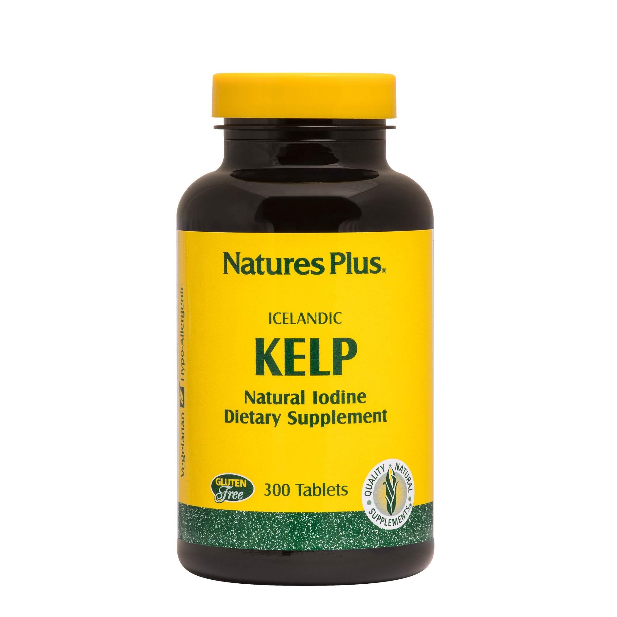 NaturesPlus IcelAndic Kelp - 150 mcg Iodine; 150 mg Kelp- 300 Vegetarian Tablets - Natural Iodine Supplement - Gluten-Free - 300 Servings