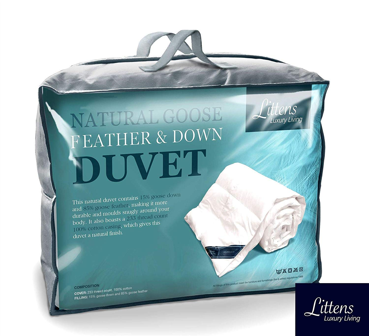 b32efc155db1 Littens - Luxury White Goose Feather   Down Duvet Quilt - 13.5 Tog King  Size - 100% Cotton Anti Dust Mite   Down Proof Fabric  Amazon.co.uk   Kitchen   Home
