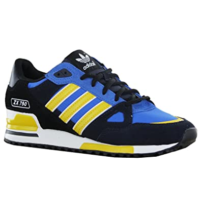 premium selection c1464 9d5e0 adidas Originals Men s ZX 750 trainers black   blue   yellow D65230  UK 10