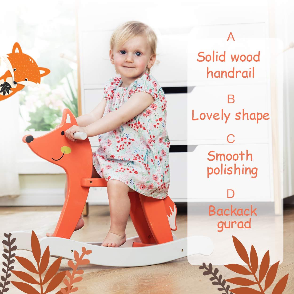 Gift for Kid 1,2,3 Sterne gedruckt grau HONNIEKIS Schaukelpferd aus Holz Liebenswerte Spielkameraden