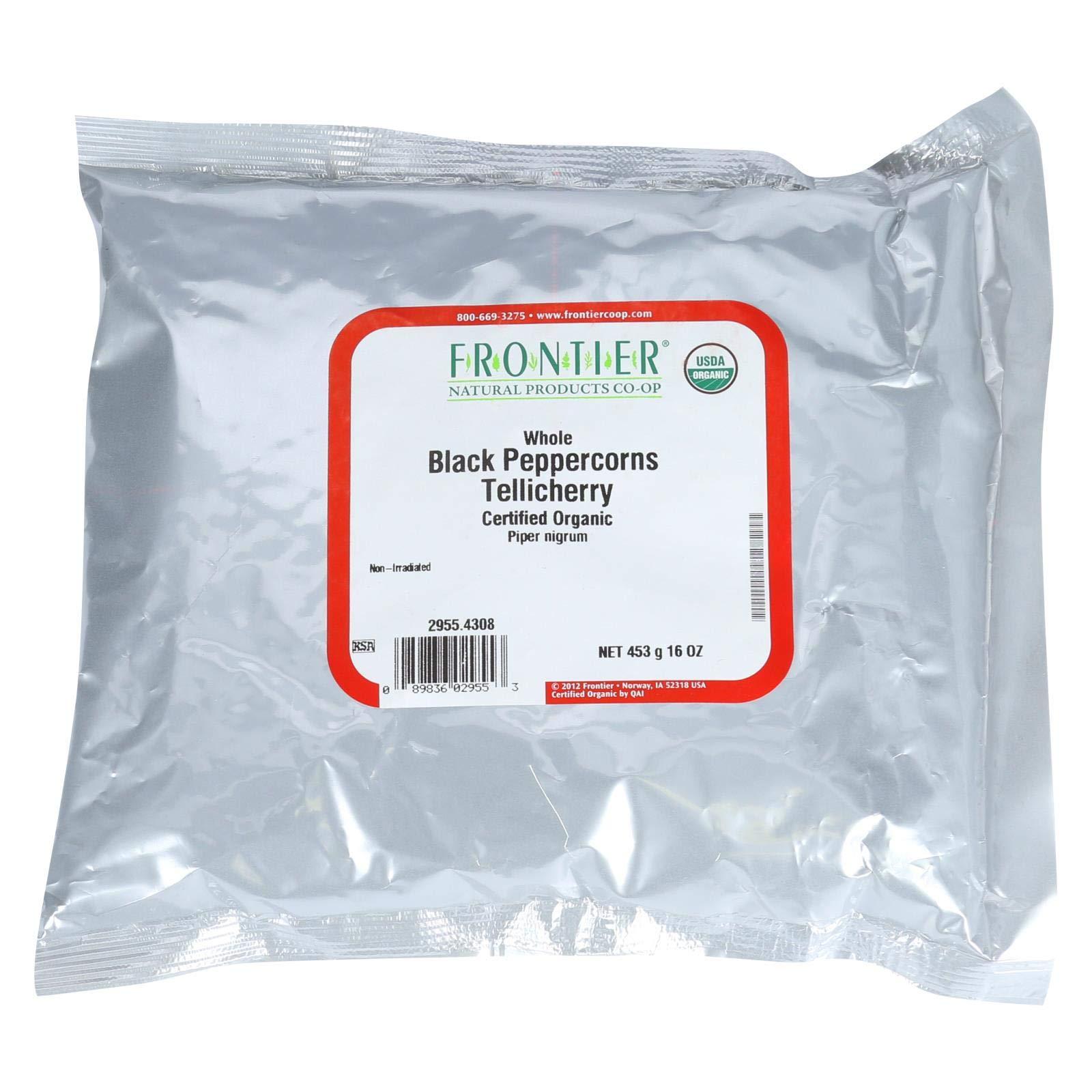 Frontier Herb Bulk Peppercorns Organic Whole Black Tellicherry Grade, 1 Pound