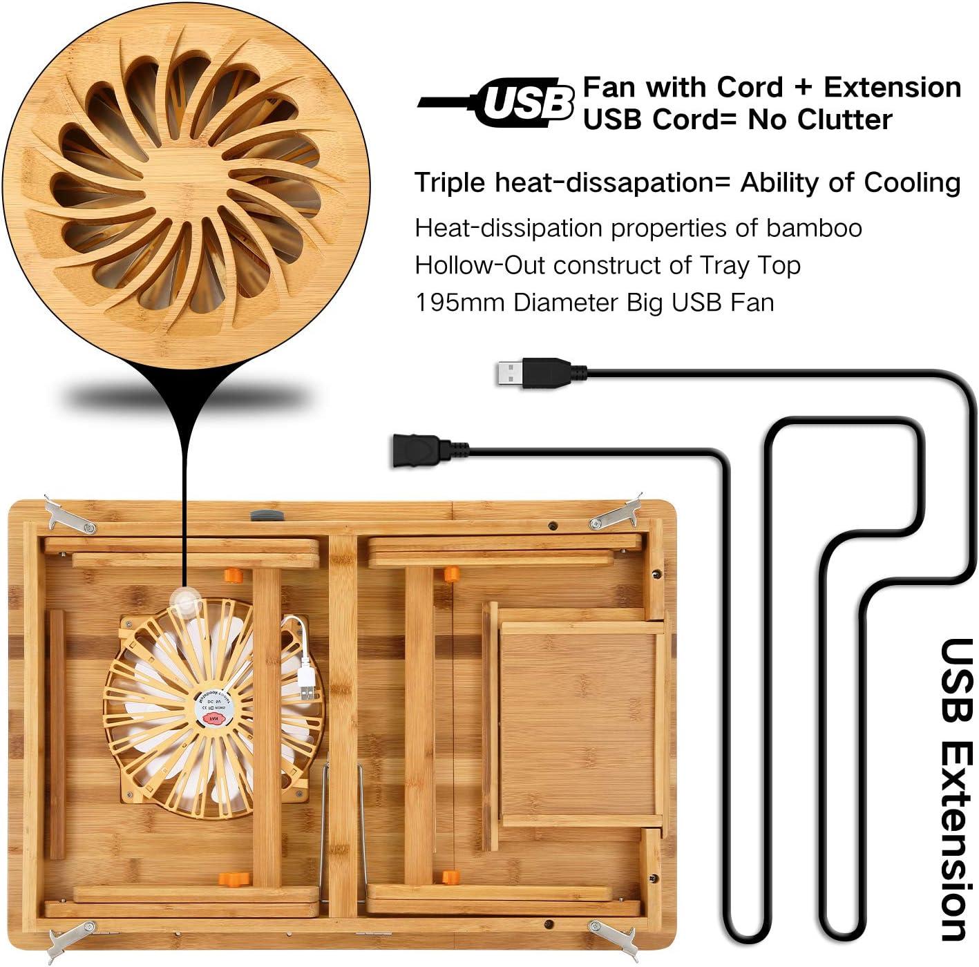 Nnewvante Betttisch mit gro/ße W/ärmeableitunge USB-L/üfter Tragbare Laptoptisch Verstellbarer Bambus Betttablett Faltbare Fr/ühst/ück Tablett Schreiben Kipp-Tablett