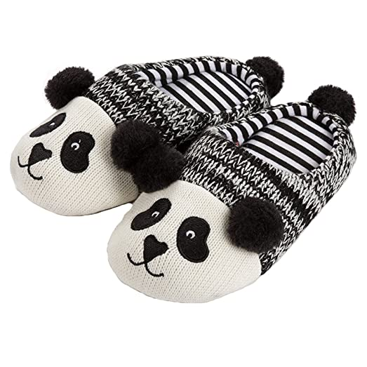 Women's Slippers Panda Cotton Washable Soft Warm Non-Slip Flat Closed Toe Indoor Shoes