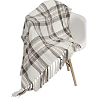 Chenille Woven Throw Blanket with Decorative Fringe and Striped for Home Décor Bed Sofa Couch Chair