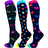 3/6 Pairs Compression Socks Women Men Funny Socks-Best for Running,Cycling,Sports,Nurse,Warm-20-25mmHg