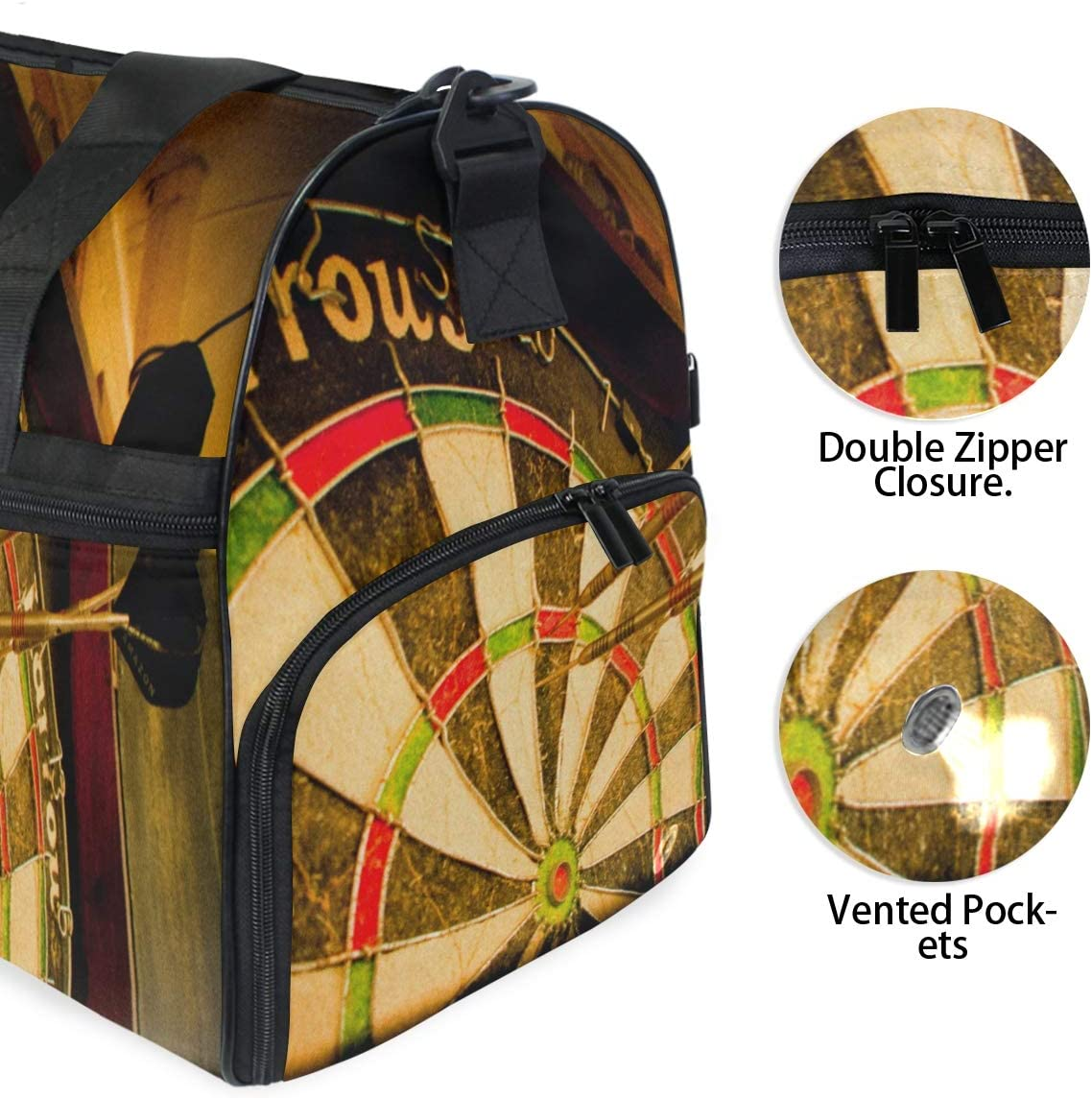 MUOOUM Cool Sport Darts Large Duffle Bags Sports Gym Bag with Shoes Compartment for Men and Women