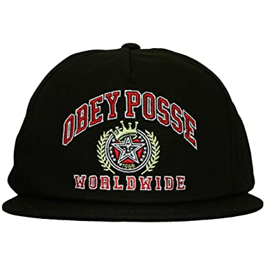 Obey - Gorra con Visera Plana para Hombre Posse Worldwide - Black: Amazon.es: Ropa y accesorios