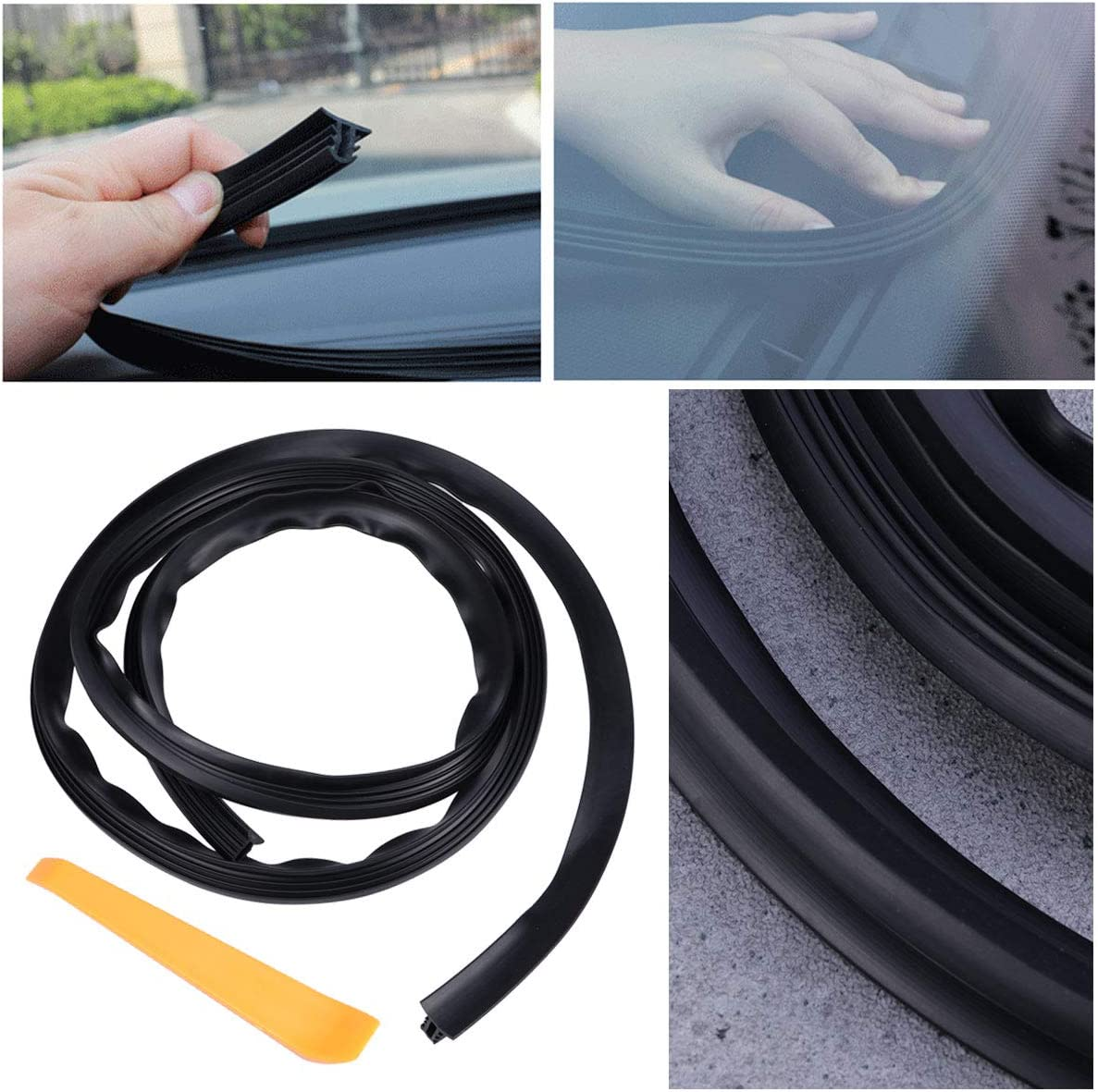 Black VOSAREA 1.6 Meters Auto Windshield Trim Seal Strip Line DIY Decoration Flexible Gap Filler with Tool