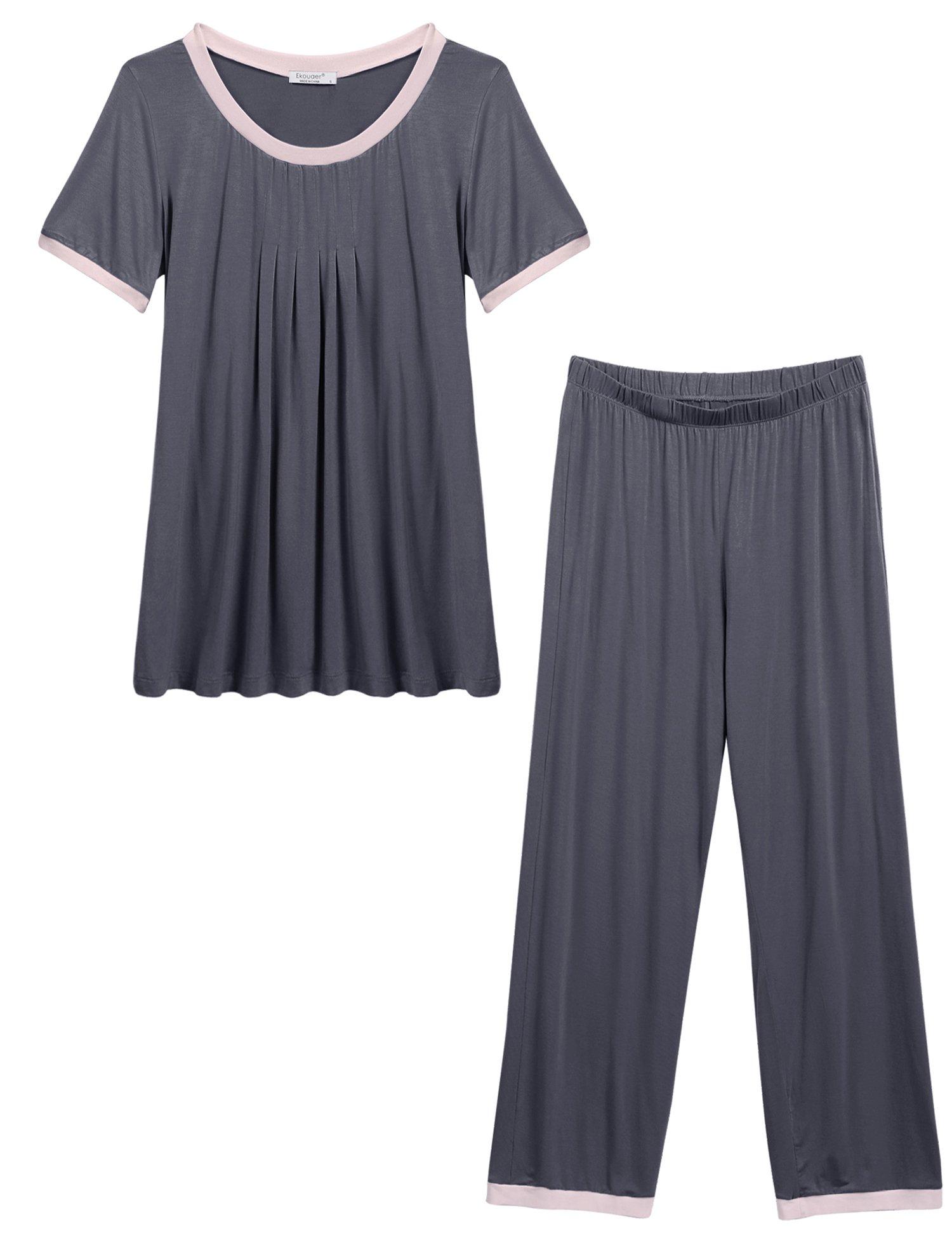 Ekouaer Women's Pajama, Comfort Fit Top and Pants(Dark Grey M)