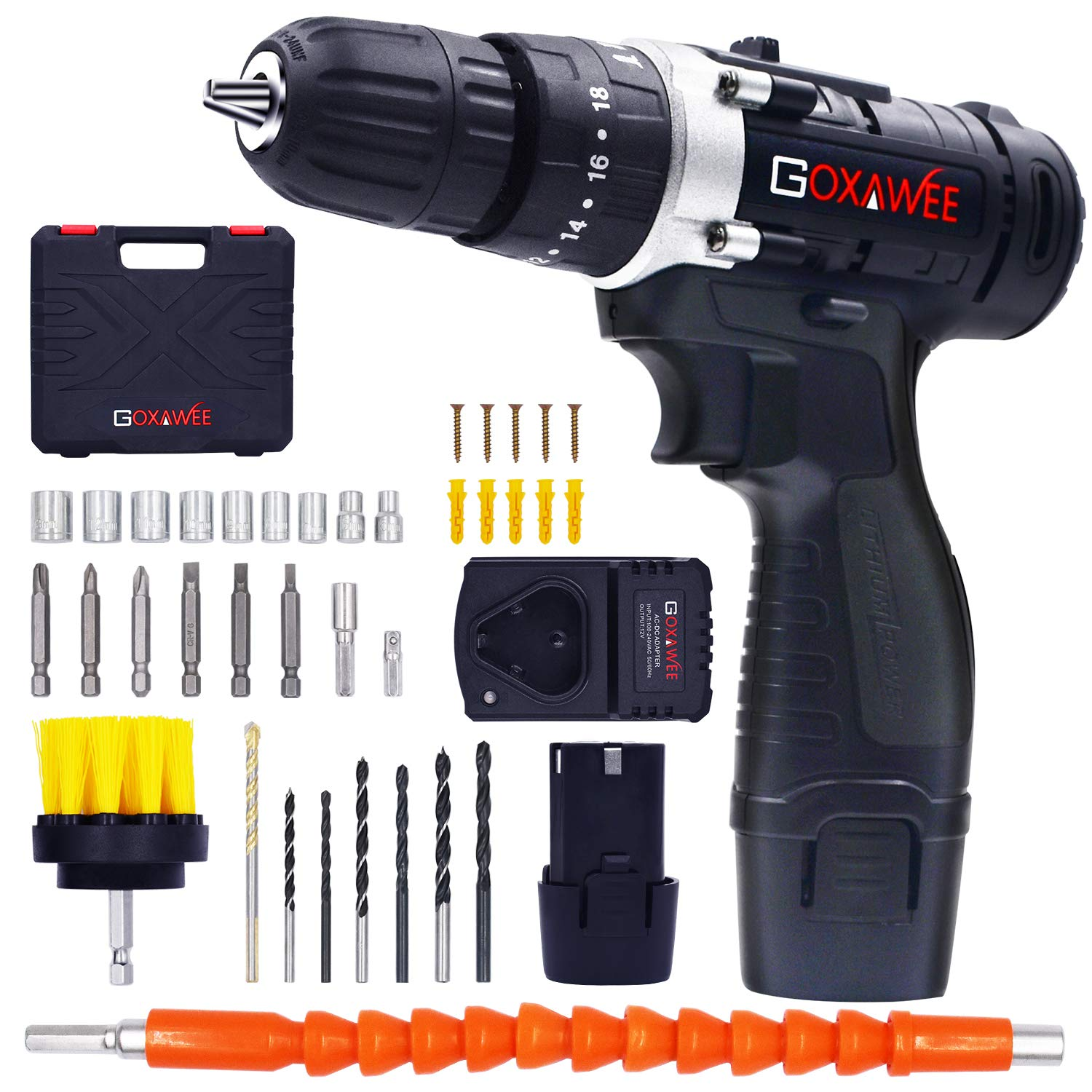"GOXAWEE Cordless Drill Kit with 2Pcs Batteries, 2-Speed 3/8"" Keyless Chuck Electric Screwdriver with Hammer Function, Compact Home Drill Set with 265In-lbs, 18+3 Position, LED, 100pcs Accessories"