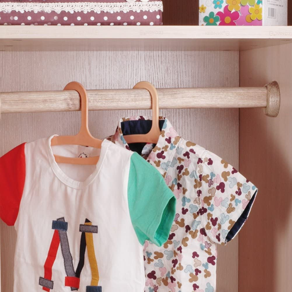 Btibpse Wooden Oval Closet Rod Polished Wood Wardrobe Closet Rod with End Supports 50 cm