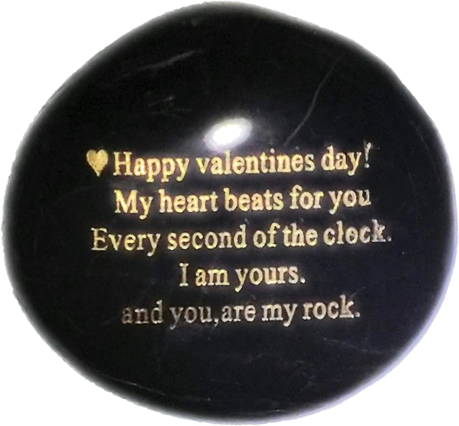 """Probably the Best Valentines Day Gifts for him or her you can buy """"Happy Valentines Day! My heart Beats for you Every second of the clock. I am yours. And you, are my rock"""" - Engraved Rock Unique gift"""