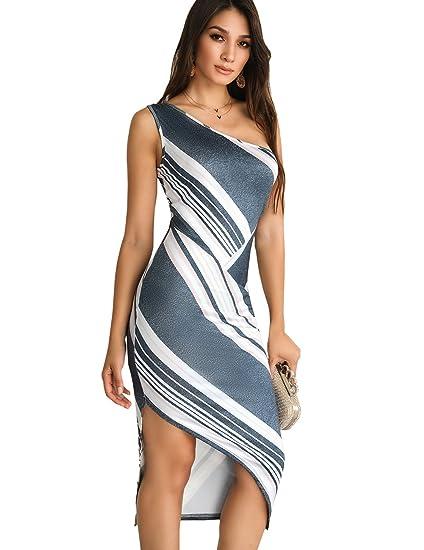 775a83119698 Ninimour Women Striped One Shoulder Irregular Bodycon Dress Dark Grey S