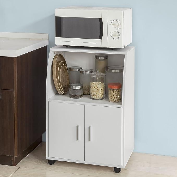 SoBuy®Aparador auxiliar bajo de cocina para microondas,con 2 puertas y 1 estante,L59 cm x P40 cm x H92 cm,FRG241-W,ES