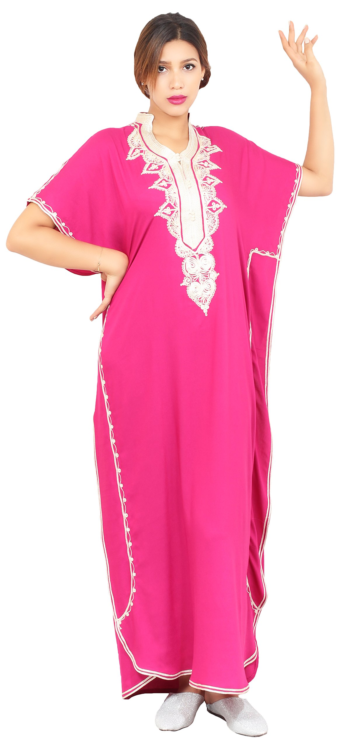 Moroccan Caftan Hand Made Top Quality Breathable Cotton with Hand Embroidery Long Length Magenta