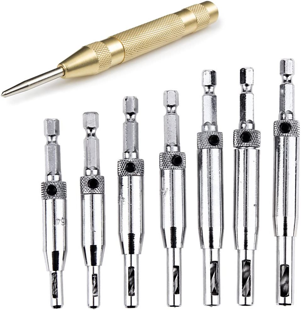 """HIFROM Door Drill Bit Set with Automatic Center Punch,Doors Self Centering Hinge Tapper Core Drill Bit Set,Hole Puncher Woodworking Tools 5/64"""" 7/64"""" 9/64"""" 11/64"""" 13/64"""" 5mm 1/4"""""""