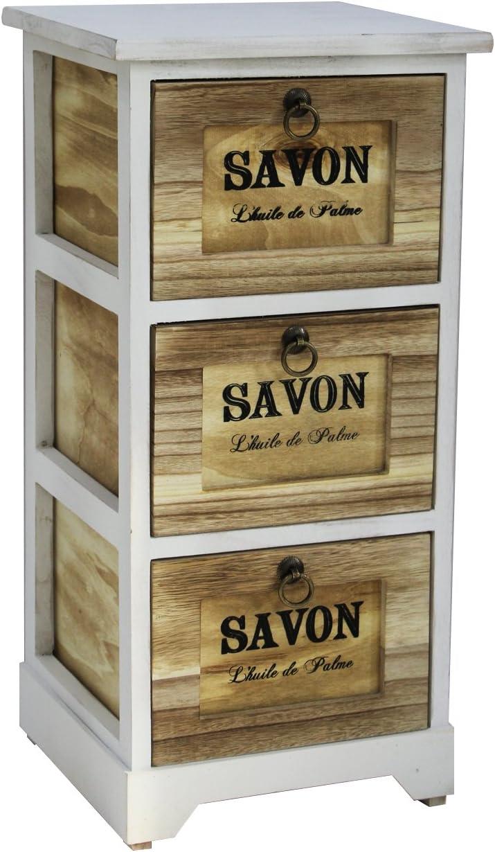 RE6099 63x30x30 Rebecca Mobili Commode Meuble de Rangement Blanc Bois Chambre Organisation Maison - Art H x L x P