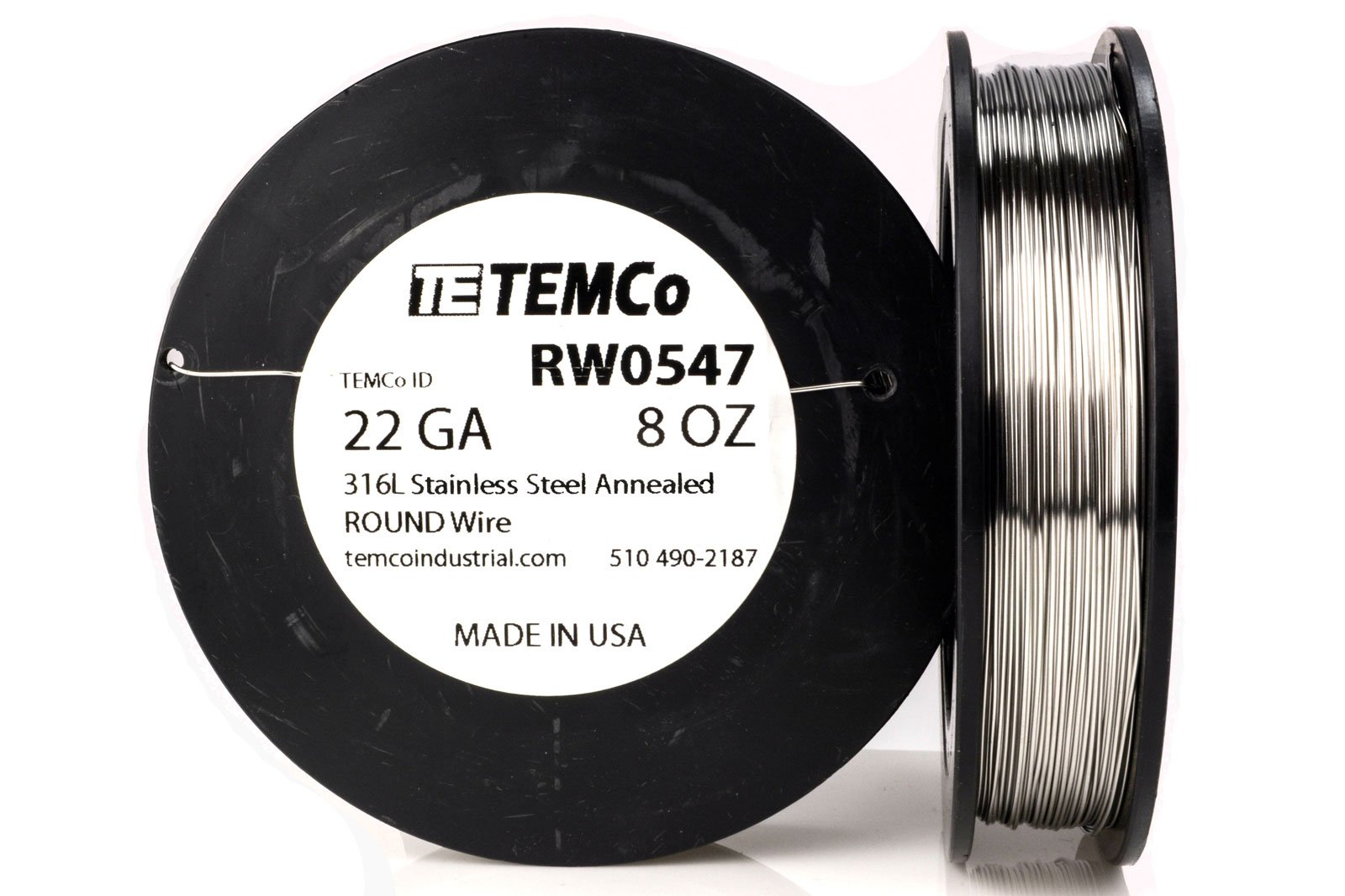 TEMCo Stainless Steel Wire SS 316L - 22 Gauge 8 oz (290 ft) Non-Resistance AWG ga