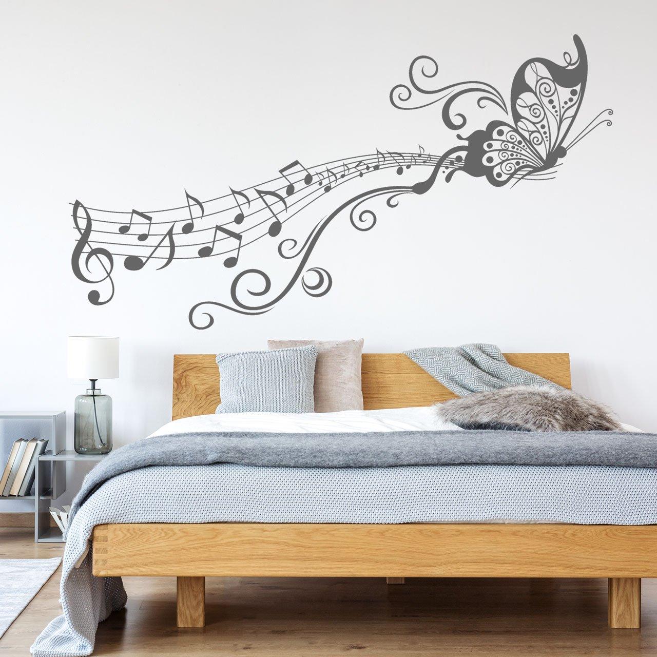 DESIGNSCAPE® Wandtattoo Schmetterling Schmetterling Schmetterling auf Notenlinie   Wandtattoo für Musikfans 120 x 65 cm (Breite x Höhe) weiss DW805111-M-F5 B07CHLKVT9 Wandtattoos & Wandbilder 3cab96