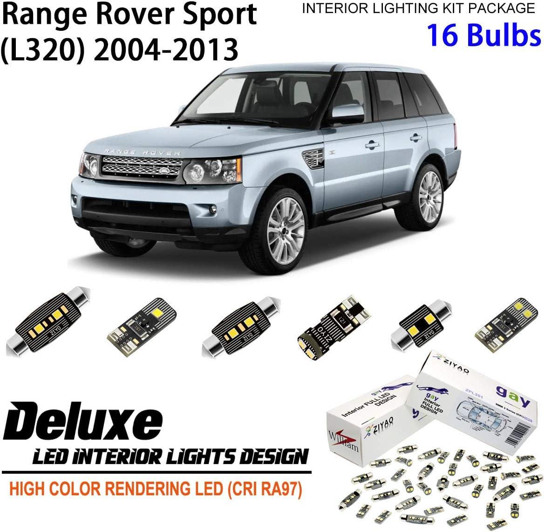 ZIYO ZPL4122 - (16 Bulbs) Deluxe LED Interior Light Kit 6000K Xenon White Dome Light Bulbs Replacement Upgrade for 2004-2013 Land Rover Range Rover Sport