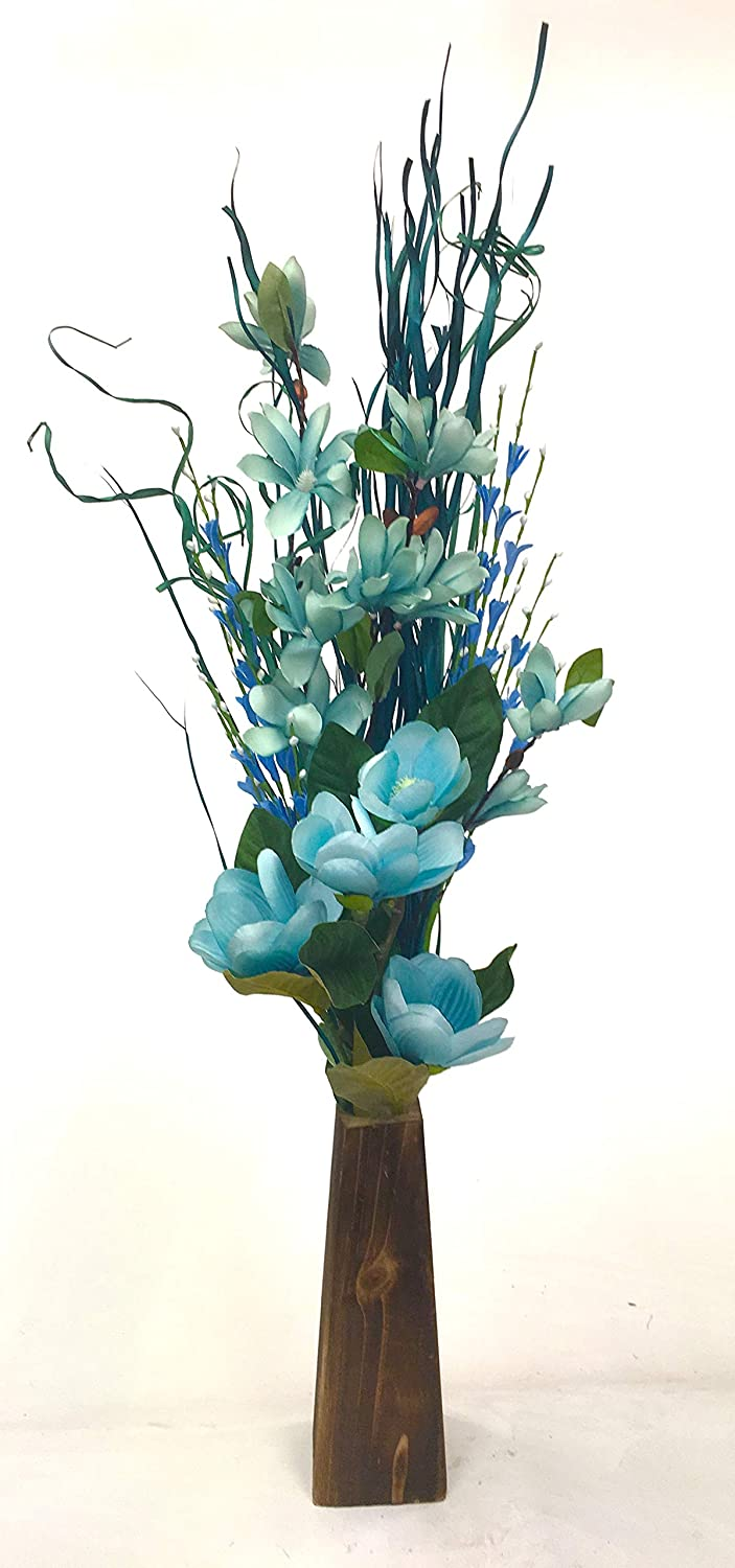 Link Products FREE 28 cm wooden vase included with Luxury blue teal flowers and grasses 85 cm tall