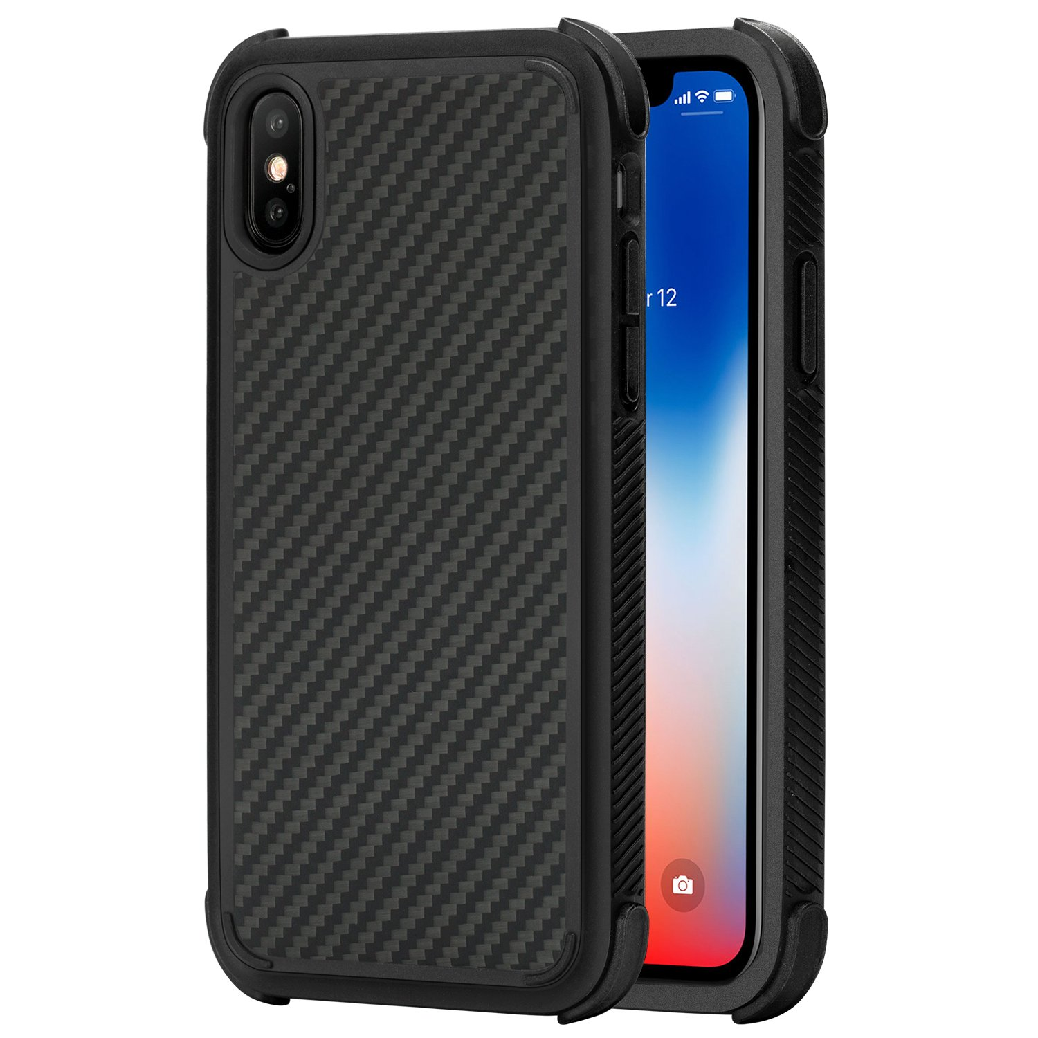 PITAKA Protective Case Compatible with iPhone X,Magcase Pro Military Drop Test Case Strongest Super Durable Resilient Shock Absorption Rugged Armor Case with Slim and Light Design - Black