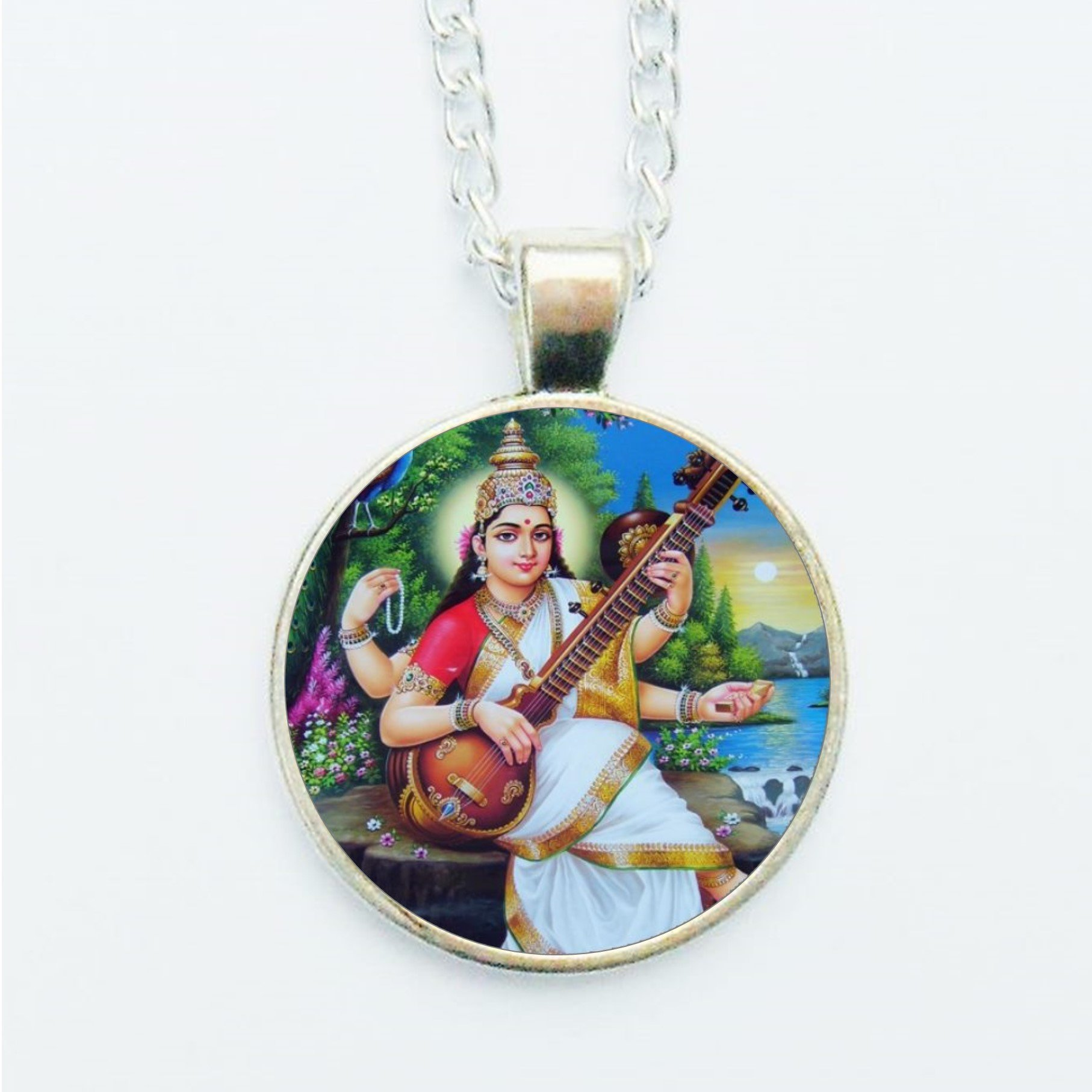 Saraswati Pendant Necklace or Earrings Spiritual Hindu God Goddess Deity Indian New Age Jewelry Music Arts Lover Gift