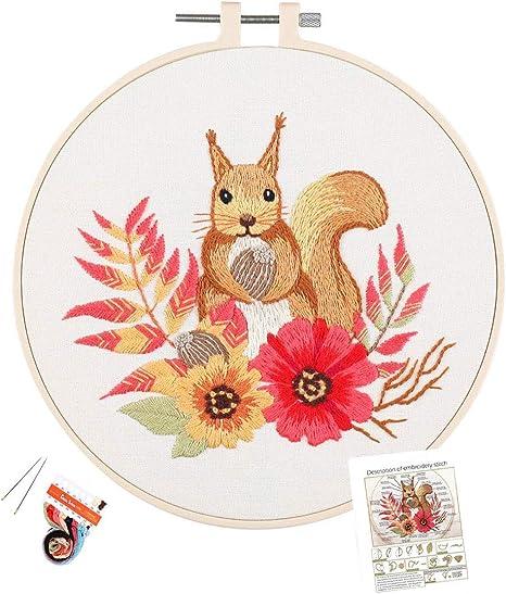 YESSART Stamped Embroidery Kit for Beginner Starter Flower Pattern Floss Hoop Needles Cloths Included
