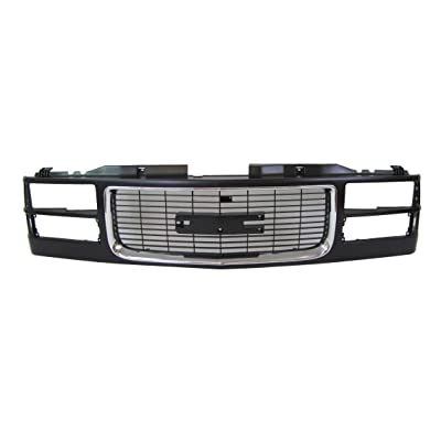 94-02 Gmc Pickup (Old Style) / 94-99 Gmc Suburban / 94-99 Gmc Yukon (Composite Type) Grille Material Black with Chrome Molding GM1200392: Automotive