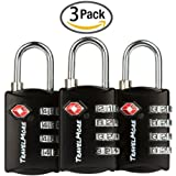 3 Pack TSA Luggage Locks with 4 Digit Combination – Heavy Duty Set Your Own Padlocks for Travel, Baggage, Suitcases & Backpacks - Black